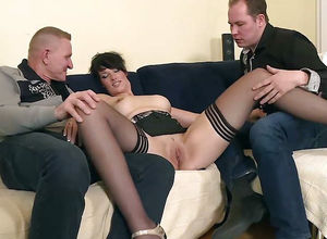 Anal invasion 3 way sex. German cougar..