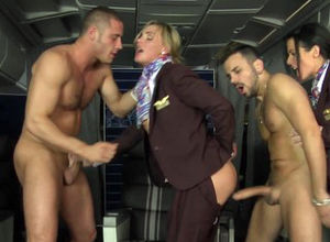 Analed CFNM stewardess joins mile high..