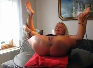 Screamer -tied mature wifey is fisted..