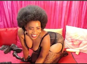 Marvelous afro mature on webcam