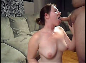 Nasty mature wifey deep throats pecker..