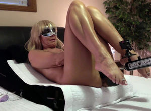 Platinum-blonde mature wifey in the..