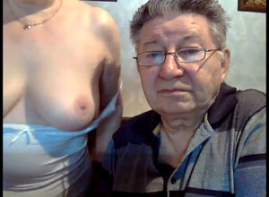 Mature spouse chatting on Skype while..
