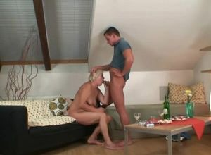 Light-haired boozed elderly mommy in..