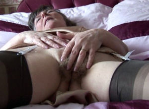 Unshaved grandmother in pantyhose and..