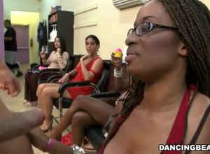 Ebony dame throating at bachelorette..