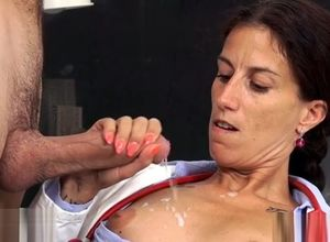 Cool mature hand job with