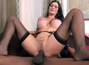 Glam Dark-haired In Enjoy With Trio Guys